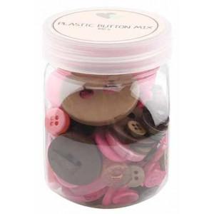 Go handmade Assorterede knapper Pink/Brun 100 g