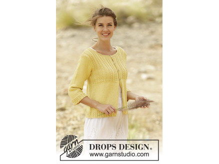Image of   Golden Blossom by DROPS Design - Cardigan Strikkeopskrift str. S - XXX