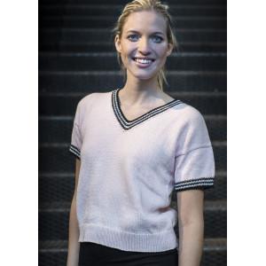 Mayflower Kortærmet Bluse med Kontrastkanter - T-shirt Strikkeopskrift str. S - XXXL