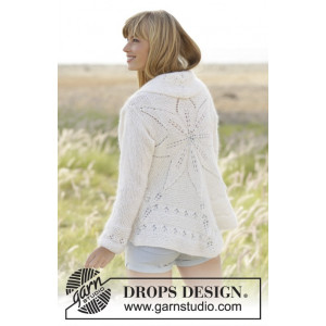 White Flower by DROPS Design - Cirkeljakke Strikkeopskrift str. S/M - XXL/XXXL