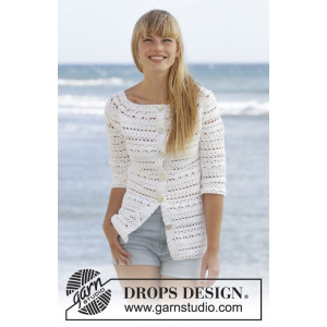 Seashore Bliss Cardigan by DROPS Design - Jakke Hækleopskrift str. S - XXXL