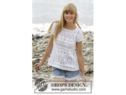 Erica Top by DROPS Design - Top Strikkeopskrift str. S - XXXL thumbnail