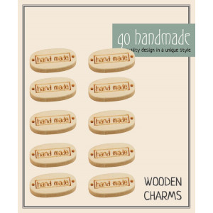 Go handmade Charm Træ Hand made 2 cm - 10 stk