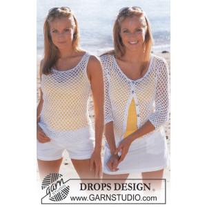 Summer Breeze Set by DROPS Design - Top og Cardigan Hækleopskrift str. S - XXL