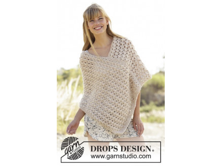 Image of   Creme Caramel by DROPS Design - Poncho Strikkeopskrift str. S/M - XXL/