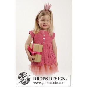 Lovely Rose by DROPS Design - Børnejakke Hækleopskrift str. 12/18 mdr - 9/10 år