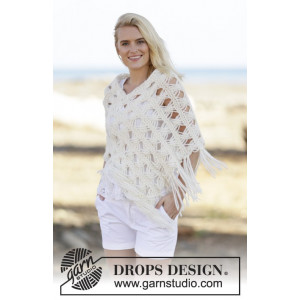 Late in August by DROPS Design - Poncho Strikkeopskrift str. S/M - XXL/XXXL