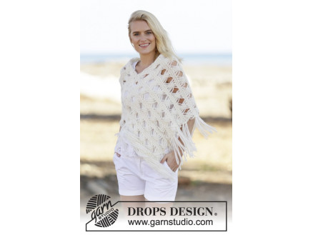 Image of   Late in August by DROPS Design - Poncho Strikkeopskrift str. S/M - XXL