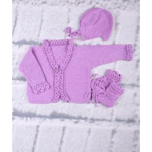 Mayflower Babysæt - Bluse, hue og sko Strikkeopskrift str. 3 mdr - 18 mdr