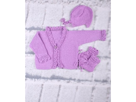 Image of   Mayflower Babysæt - Bluse, hue og sko Strikkeopskrift str. 3 mdr - 18