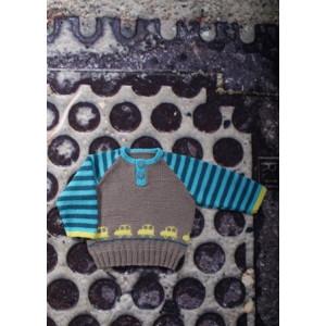 Mayflower Baby Bluse med Biler - Bluse Strikkeopskrift str. 0/1 mdr - 4 år
