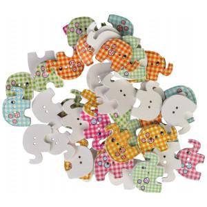 Infinity Hearts Knapper Træ Elefanter Ass. farver 29x20 mm - 50 stk