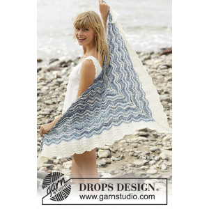 Mer Bleue by DROPS Design - Sjal Strikkeopskrift 166x75 cm