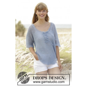 Blue Mist by DROPS Design - Bluse Strikkeopskrift str. S - XXXL