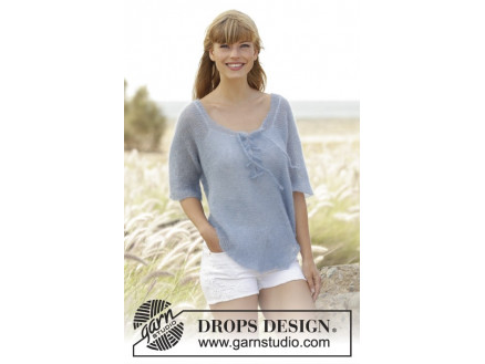 Image of   Blue Mist by DROPS Design - Bluse Strikkeopskrift str. S - XXXL