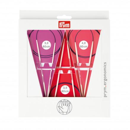 Prym Ergonomiske Rundpindesæt Plast 80cm 3,0-4,0 mm 3 størrelser