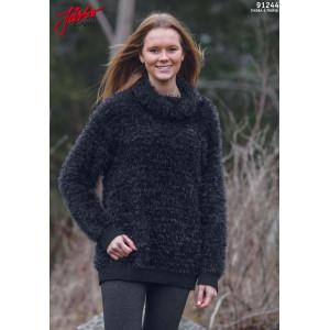 Järbo Sweater med Skorstenskrave - Bluse Strikkeopskrift str. XS/S - XL/XXL