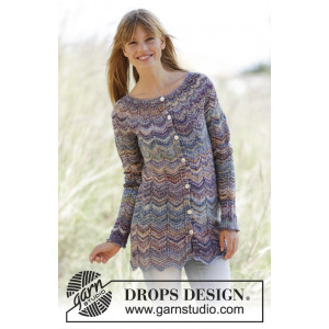 At Sundown Cardigan by DROPS Design - Jakke Strikkeopskrift str. S/M - XXL/XXXL