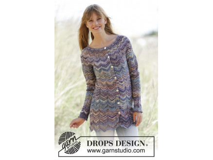 Image of   At Sundown Cardigan by DROPS Design - Jakke Strikkeopskrift str. S/M -