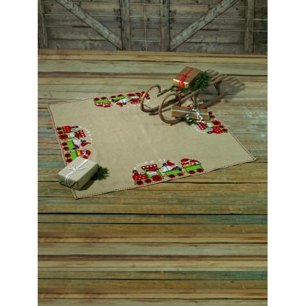 Billede af Permin Broderikit Juletræstæppe - Juletoget 170 x 170 cm