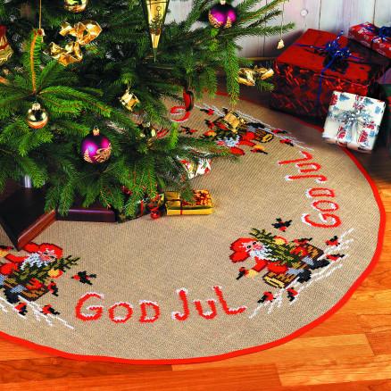 Billede af Færdigbroderet Juletræstæppe - God Jul - Ø120 cm