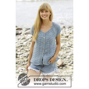 Shore Line Cardigan by DROPS Design - Cardigan Strikkeopskrift str. S - XXXL