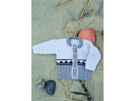 Mayflower Trøje med 3 Mønstre - Bluse Strikkeopskrift str. 1 mdr - 4 å