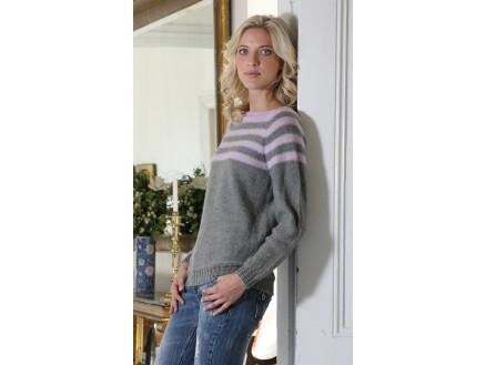 Mayflower Sweater med Striber - Bluse Strikkeopskrift str. S - XXXL
