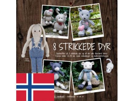 Image of   8 strikkede dyr - Norsk - Bog fra Go handmade