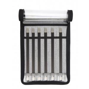 KnitPro Karbonz Strømpepindesæt Kulfiber 20 cm 2,5-5 mm 6 størrelser