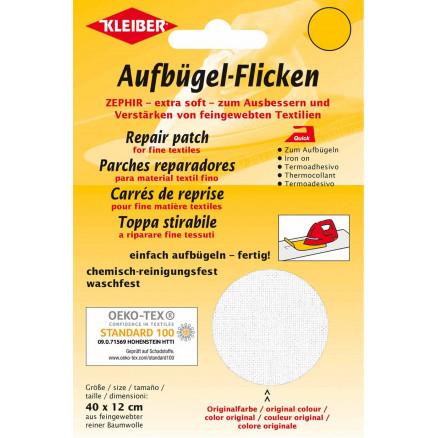 Kleiber Strygemærke/Reparationslap Zephir Bomuld Hvid 40x12cm - 1 stk thumbnail