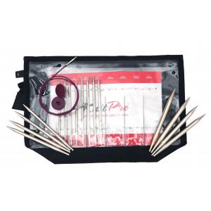 KnitPro Nova Metal Udskiftelige rundpindesæt Messing 60-80-100 cm 3,5-8 cm 8 størrelser Deluxe