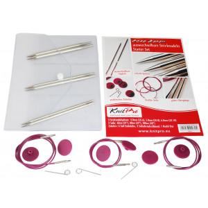 KnitPro Nova Metal Udskiftelige rundpindesæt Messing 60-80-100 cm 4-6 mm 3 størrelser Startsæt