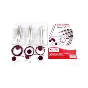 KnitPro Nova Metal Udskiftelige rundpindesæt Messing 60-80-100 cm 9-12 mm 3 størrelser Chunky