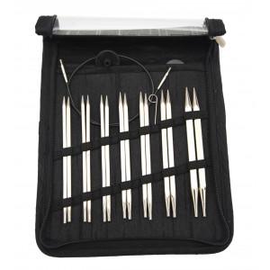 KnitPro Nova Cubics Udskiftelige rundpindesæt Messing 60-80-100cm 4-8mm 7 størrelser