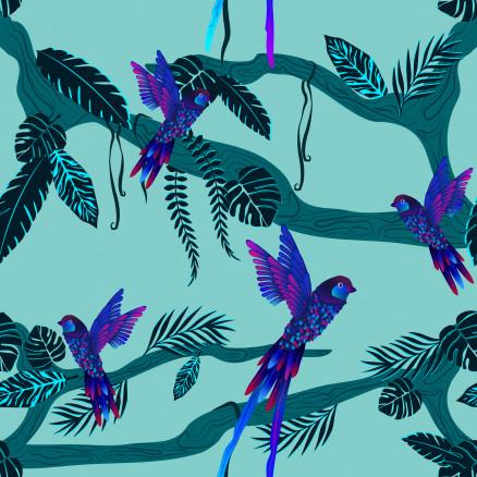 Jungle Birdie Bomuld Stof 112cm Farve 426 - 50cm thumbnail