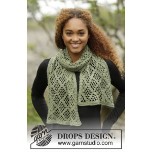 Olive Diamonds by DROPS Design - Tørklæde Hæklekit 140x37 cm