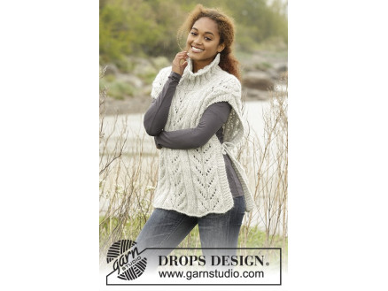 Image of   Come Winter by DROPS Design - Poncho Strikkeopskrift str. S/M - XL/XXX