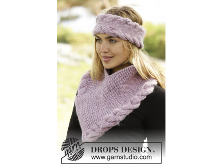 Image of   Braided Warmth by DROPS Design - Pandebånd og Hals Strikkeopskrift S/M