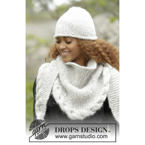 Winter Cozy by DROPS Design - Hue og Sjal Strikkeopskrift str. S/M - L/XL og 165x45 cm