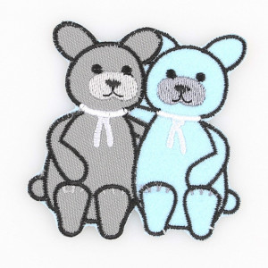 Go handmade Strygemærke Kattene Burt & Bart 7x7 cm - 1 stk