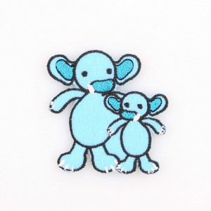 Go handmade Strygemærke Elefanterne Sara & Simba 6x6 cm - 1 stk