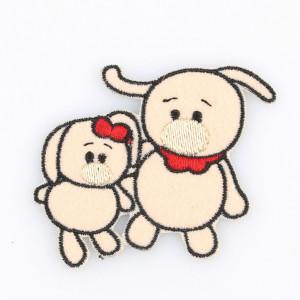 Go handmade Strygemærke Kaninerne Laura & Andy 6x7 cm - 1 stk