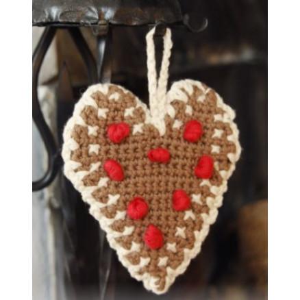 Gingerbread Heart by DROPS Design – Julehjerter Hækleopskrift 13×11 cm