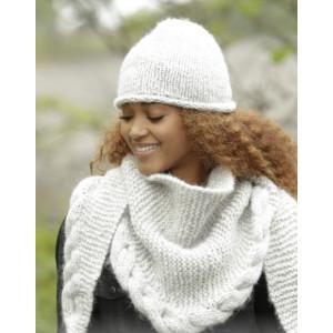 Winter Cozy by DROPS Design - Hue og Sjal Strikkeopskrift str. S/M - L/XL og 165x45 cm