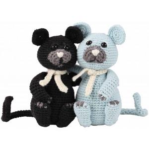 Go handmade Hæklekit Kattene Burt & Bart 13 cm og 13 cm