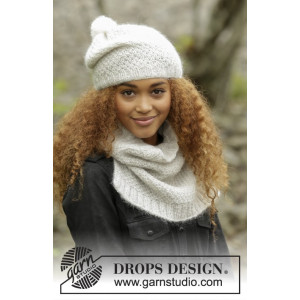 Cream Puff by DROPS Design - Hue og Hals Strikkeopskrift str. S/M - M/L