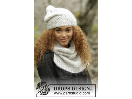 Image of   Cream Puff by DROPS Design - Hue og Hals Strikkeopskrift str. S/M - M/