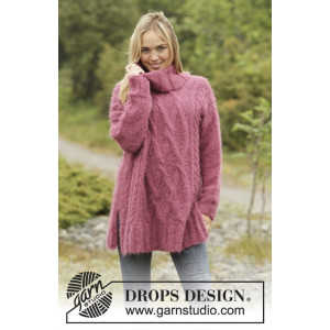 Warm Wine by DROPS Design - Bluse Strikkeopskrift str. S - XXXL