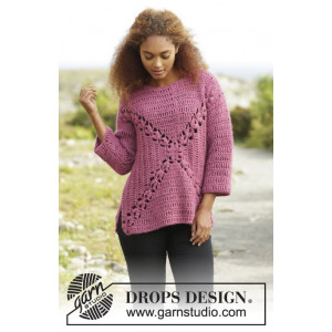 Autumn Rose by DROPS Design - Bluse Hækleopskrift str. S - XXXL